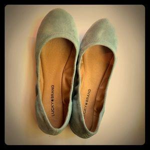 Lucky Brand- Emmie Suede Ballet Flats, Cloud, 8.5